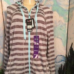 Lukka Fitness Gray Striped Zip Down Hooded Jacket